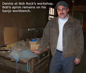 Dennis at Bob Rock's workbench